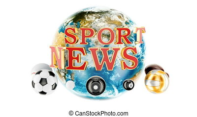 Sport News animation concept, 3D rendering isolated on white...