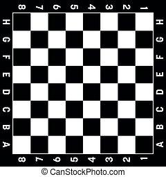 sport, noir, gameboard, jeu, illustration, loisir, planche, ou, échecs, vecteur, white., chess.