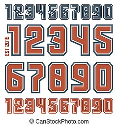 Sport numbers with contour for t-shirt. Color print on white...