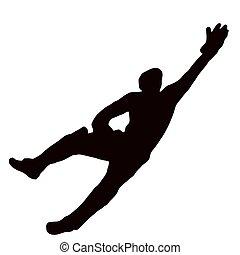 sport, nurkować, -, wicket-keeper, sylwetka