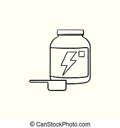 Sport nutrition container hand drawn outline doodle icon.