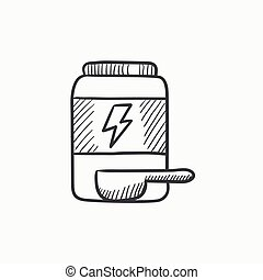 Sport nutrition container sketch icon. - Sport nutrition...