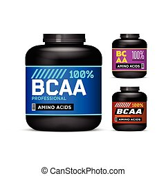 Sport Nutrition Containers. Branched-Chain Amino Acids set. Black cans collection with BCAA. Jar label on white background. Vector product packaging.