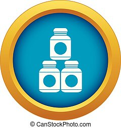 Sport nutrition containers icon blue vector isolated on...