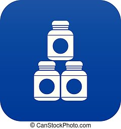 Sport nutrition containers icon digital blue for any design...