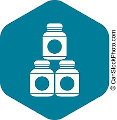 Sport nutrition containers icon, simple style - Sport...