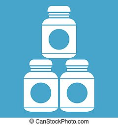 Sport nutrition containers icon white isolated on blue...