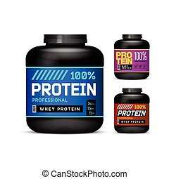 Sport Nutrition Containers. Weight gainers set. Black cans collection with Protein. Jar label on white background. Vector product packaging.
