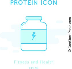 Sport nutrition icon isolated on white.