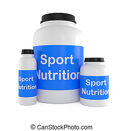 Sport Nutrition Supplement containers isolated on white - 3d...