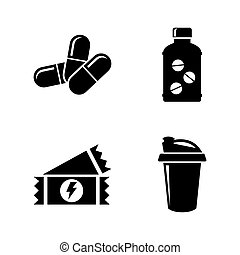 Sport Nutrition, Supplements. Simple Related Vector Icons...