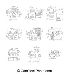 Sport nutrition vector icons flat line style