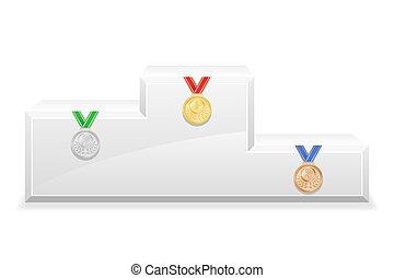 sport, nyertes, pódium, talapzat, állandó ábra