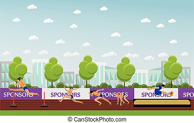 Sport of athletics concept vector illustration. Track and field competition games. Sportsman running, jumping, throwing.