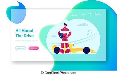 sport, oldal, autó, karikatúra, kart, karting, út, extrém, vektor, versenyzés, autó, sofőr, banner., website, lakás, feltevő, versenyfutó, hadizsákmány, track., háló, verseny, page., leszállás, faj, ábra, bajnokság