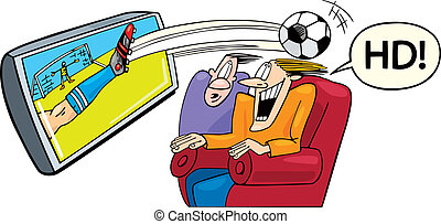 Sport on high definition television - Illustration of two ...