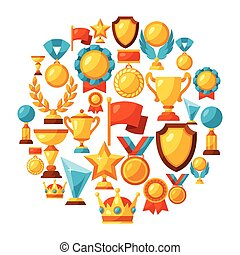 Sport or business background with award icons