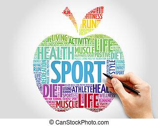 sport, ord, äpple, moln