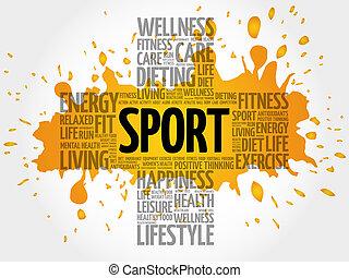 sport, ord, moln