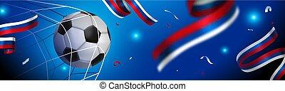 sport, oroszország, játék labda, futball, transzparens, esemény