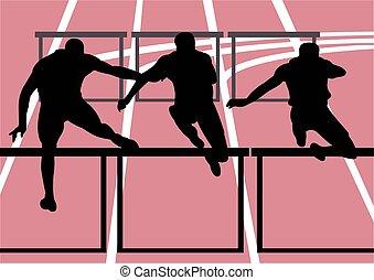 sport, ostacolo, illustrazione, corsa