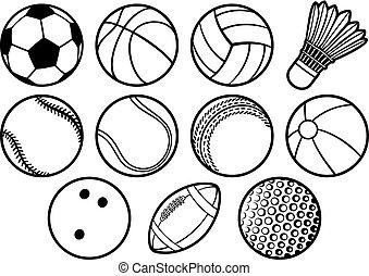 sport, palla, linea sottile, icone, set, (beach, tennis, football americano, calcio, pallavolo, pallacanestro, baseball, bowling, grillo, badminton)