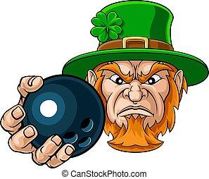 sport palla, presa a terra, bowling, gnomo, mascotte