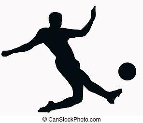 sport palla, -, socer, giocatore, calciare, silhouette