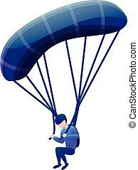 Sport parachute icon, cartoon style