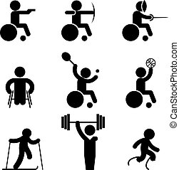 Sport paralympic games icons. Disabled sport and invalid...