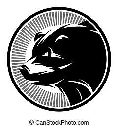 Sports Pattern monochrome logo with bear. vector illustration