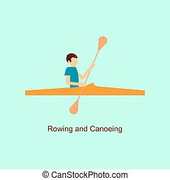 Sport people activities icon rowing and canoeing
