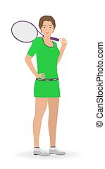 Sport people concept. Tennis woman standing on a white background with racket.