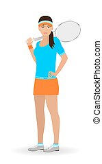 Sport people concept. Tennis woman with racket isolated on a white background.