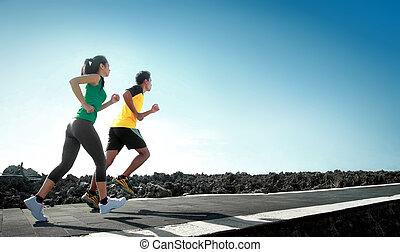 sport people running outdoor - sport - asian couple running...