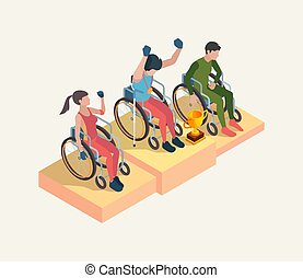 sport, personnes, paralympic, celebration., olympique, ...