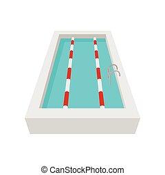 sport, piscine, natation, dessin animé, icône