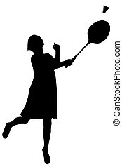 Sport player. Vector silhouette of a girl who plays badminton