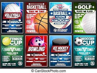 Sport Poster Set Vector. Basketball, Tennis, Soccer, Football, Golf, Baseball, Ice Hockey, Bowling. Vertical Design For Sport Bar Promotion. Tournament Flyer. Club Banner Blank Invitation Illustration