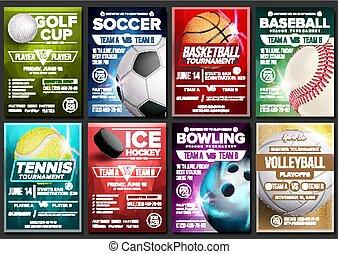 Sport Poster Set Vector. Tennis, Basketball, Soccer, Golf, Baseball, Ice Hockey, Bowling. Event Announcement. Banner Template Advertising. League. Tournament. Vertical Sport Invitation Illustration