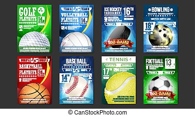 Sport Posters Set Vector. Golf, Baseball, Ice Hockey, Bowling, Basketball, Tennis, Soccer, Football. Event Announcement. Banner Advertising. Professional League. Vertical Sport Invitation Illustration