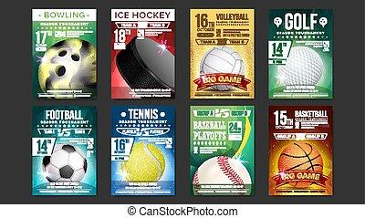 Sport Posters Set Vector. Golf, Baseball, Ice Hockey, Bowling, Basketball, Tennis, Soccer, Football. Vertical Design For Sport Bar Promotion. Tournament Flyer. Club Invitation Illustration