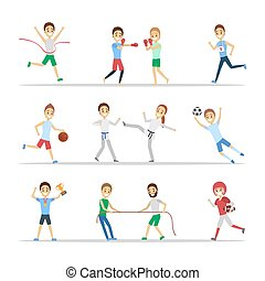 sport, różny, komplet, rodzaje, ludzie