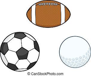 sport, różny, zbiór, piłki