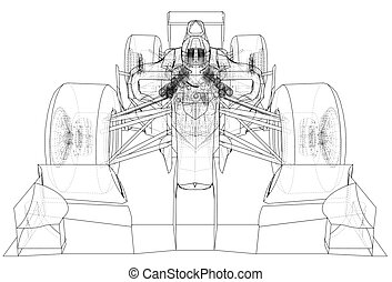 sport race car. Abstract drawing. Tracing illustration of 3d