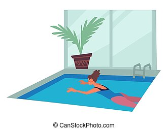 sport, ragazza, attività agio, piscina, o, acqua, costume da...