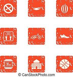 Sport regimen icons set, grunge style - Sport regimen icons...