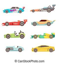 Auto, weißes, rennsport, schablone. Stil, theorie, auto,... Vektor ...