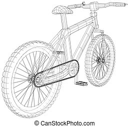 Sport road bike bicycle. Created illustration of 3d. Vector wire-frame concept