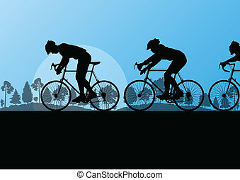 Sport road bike riders and bicycles detailed silhouettes in country side wild forest nature landscape background illustration vector